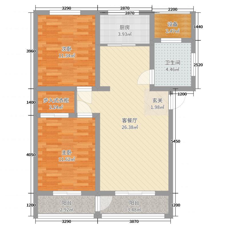兰庭华府87.22㎡1#楼标准层C户型2室2厅1卫1厨