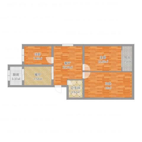 梅园小区3室2厅1卫1厨91.00㎡户型图