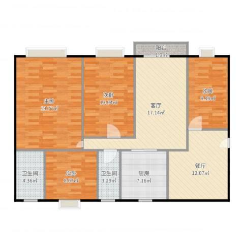 龙泽居4室2厅2卫1厨120.00㎡户型图
