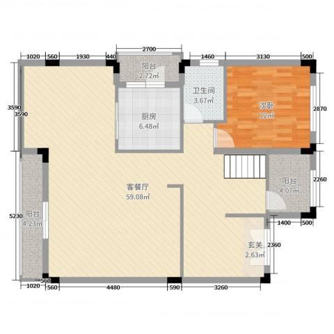 佛冈奥园温泉别墅1室2厅1卫1厨282.00㎡户型图