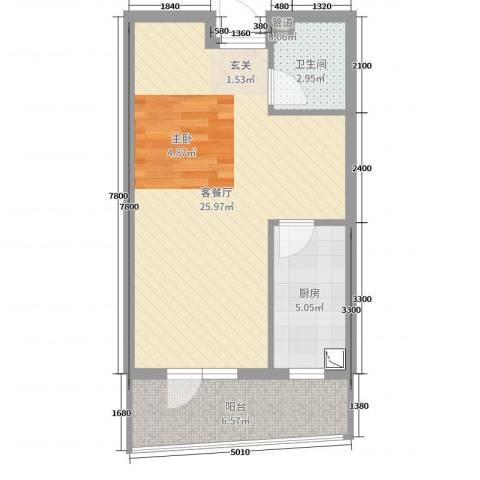 利源幸福��2厅1卫1厨48.00㎡户型图