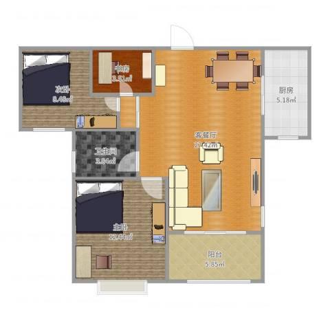 银丰唐郡荷花园3室2厅1卫1厨91.00㎡户型图