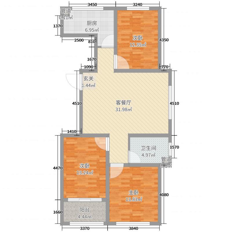 东方国际新城109.74㎡1、2号楼C户型3室3厅1卫1厨