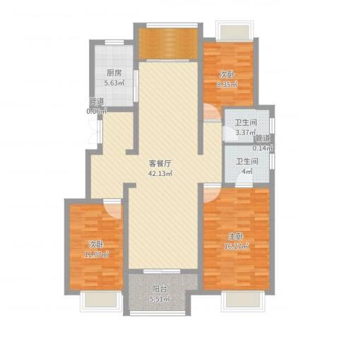保利紫荆公馆3室2厅2卫1厨126.00㎡户型图