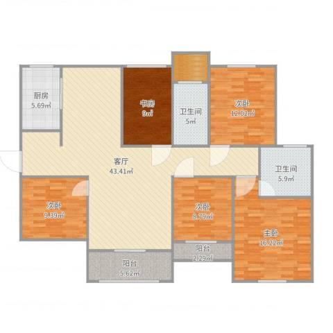 南阳建业森林半岛5室1厅2卫1厨157.00㎡户型图