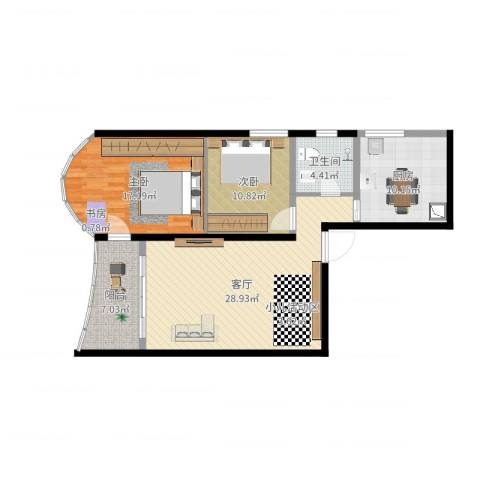 映江花园2室1厅1卫1厨101.00㎡户型图