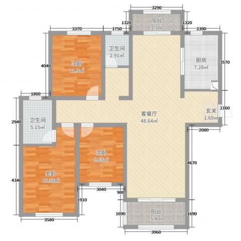 建业壹号城邦3室2厅2卫1厨137.00㎡户型图