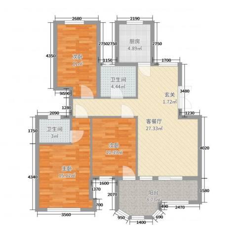 米兰花园3室2厅2卫1厨106.00㎡户型图