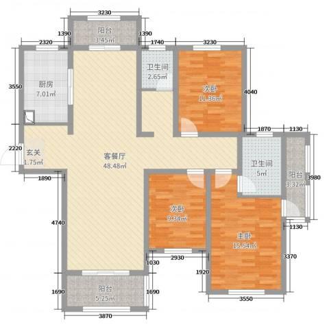 建业壹号城邦3室2厅2卫1厨139.00㎡户型图