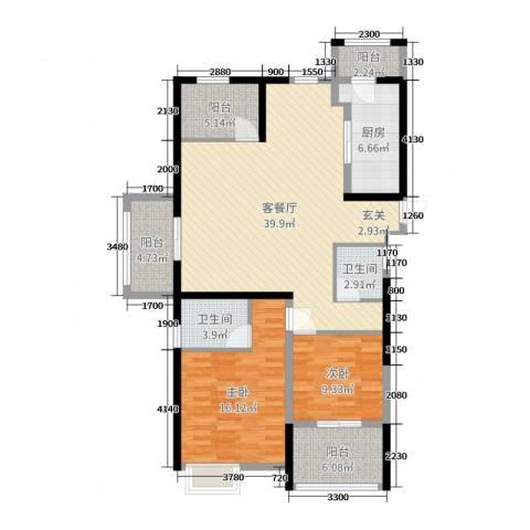 四季金辉2室2厅2卫1厨123.00㎡户型图