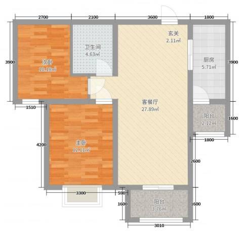 雅绅鸿居2室2厅1卫1厨95.00㎡户型图