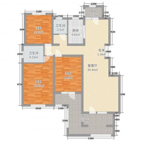 证大・大拇指广场3室2厅2卫1厨133.00㎡户型图