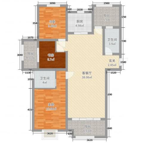 证大・大拇指广场3室2厅2卫1厨123.00㎡户型图