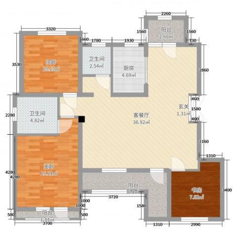 证大・大拇指广场3室2厅2卫1厨114.00㎡户型图