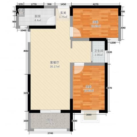 上城公馆・北郡2室2厅1卫1厨79.00㎡户型图