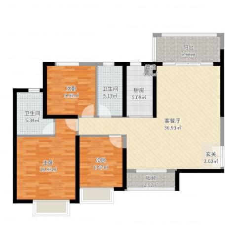 防城港恒大御景湾3室2厅2卫1厨122.00㎡户型图