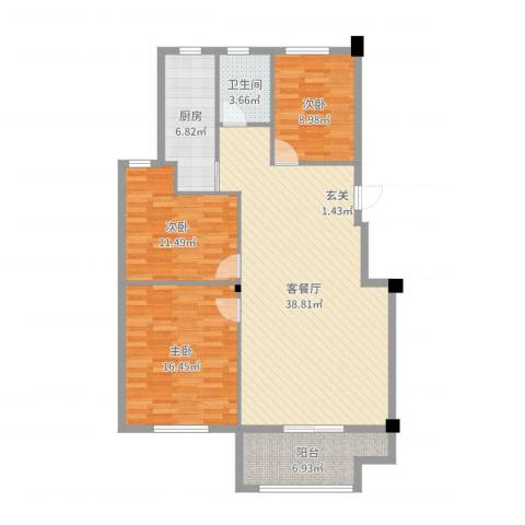 凤鸣郡和墅3室2厅1卫1厨116.00㎡户型图