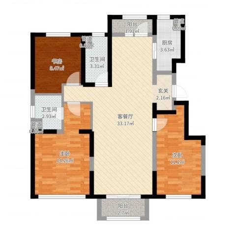 万科海港城3室2厅2卫1厨102.00㎡户型图