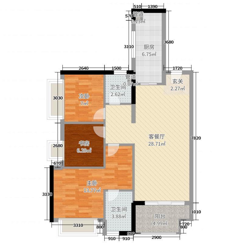 保利・�~公馆93.00㎡4栋03、04单元户型3室3厅2卫1厨