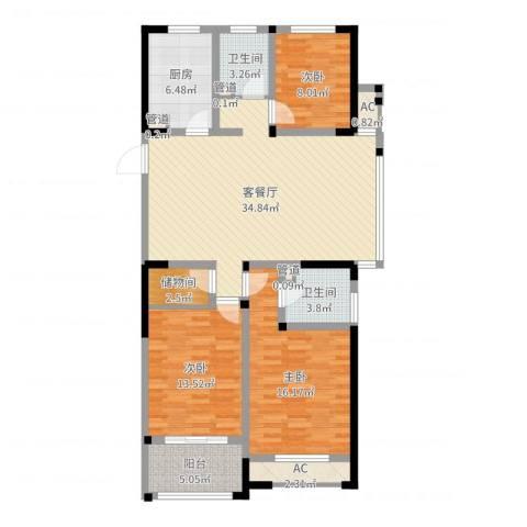 世纪华城二期铂晶湾3室2厅2卫1厨121.00㎡户型图