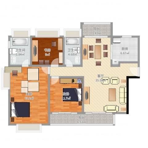 江南大道中128号大院3室1厅2卫1厨133.00㎡户型图