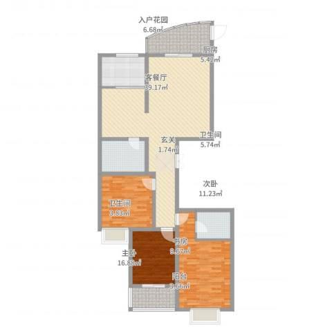 顺城一品3室2厅2卫1厨147.00㎡户型图