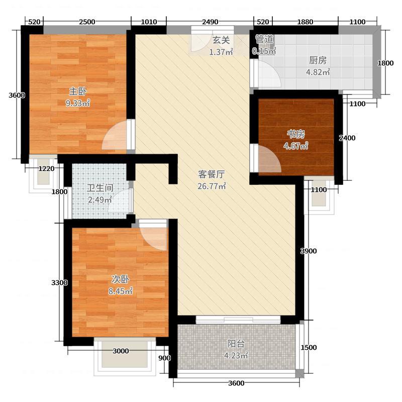 联想科技城90.00㎡三期A5户型3室3厅1卫1厨