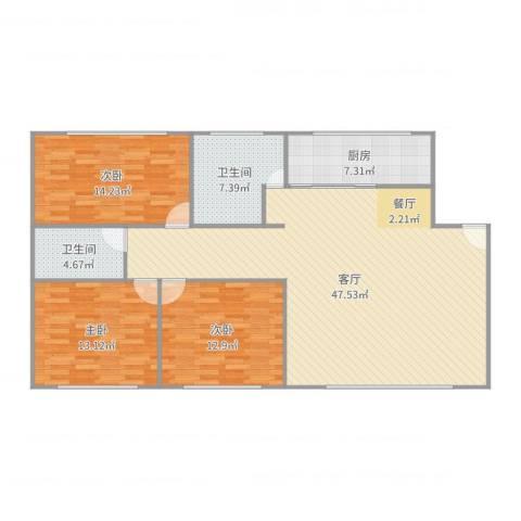远航地产书香门第3室1厅2卫1厨134.00㎡户型图