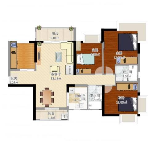 藏珑华府3室2厅2卫1厨116.00㎡户型图