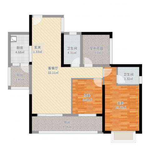 玉林天湖御林湾2室2厅2卫1厨111.00㎡户型图