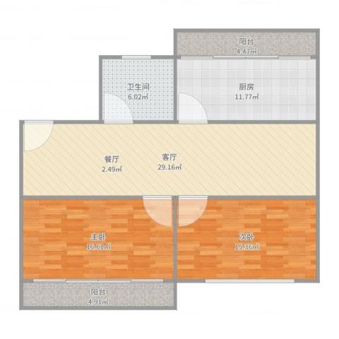 东升家园99弄五号二零一2室1厅1卫1厨110.00㎡户型图