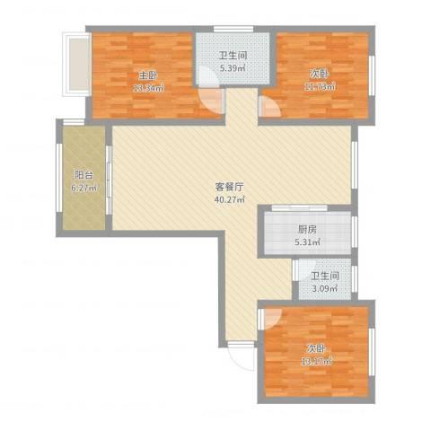 月城熙庭130m23室2厅2卫1厨98.57㎡户型图
