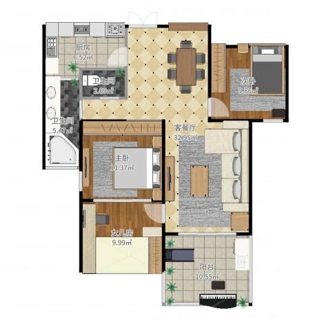 云立方2室2厅2卫1厨111.00㎡户型图