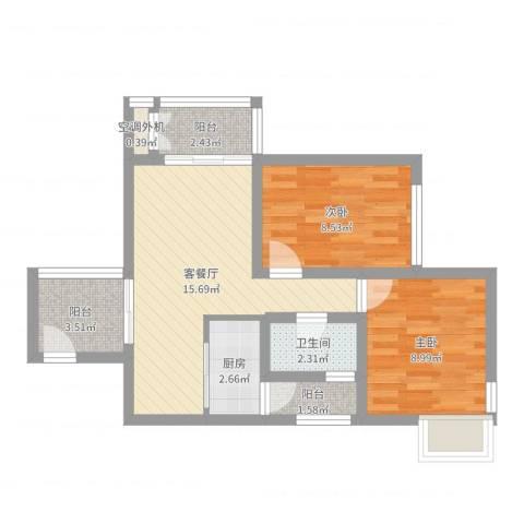 浦江宝邸2室2厅1卫1厨58.00㎡户型图