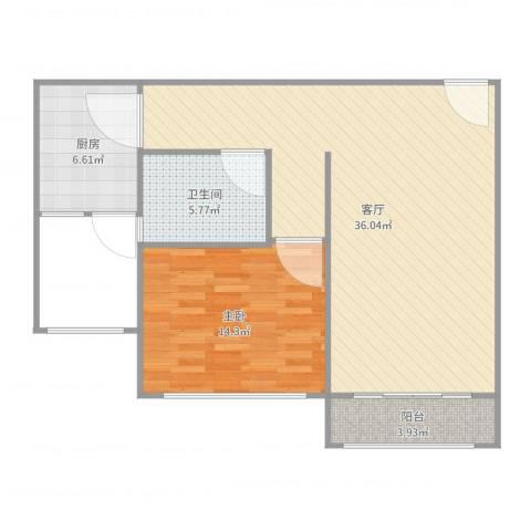 浦江宝邸1室1厅1卫1厨83.00㎡户型图