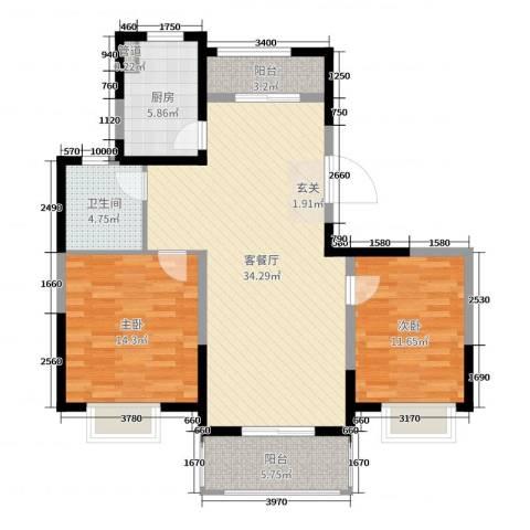 绿地泊林公馆2室2厅1卫1厨100.00㎡户型图