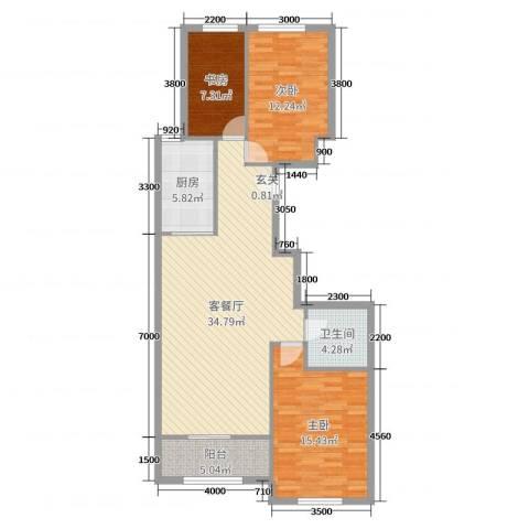 维多利大商城3室2厅1卫1厨120.00㎡户型图