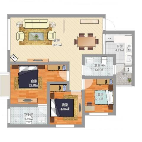 御苑3室1厅2卫1厨92.00㎡户型图