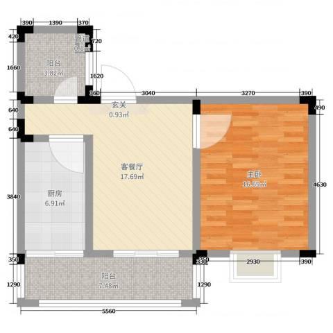 格林春天・野花园二期1室2厅0卫1厨66.00㎡户型图