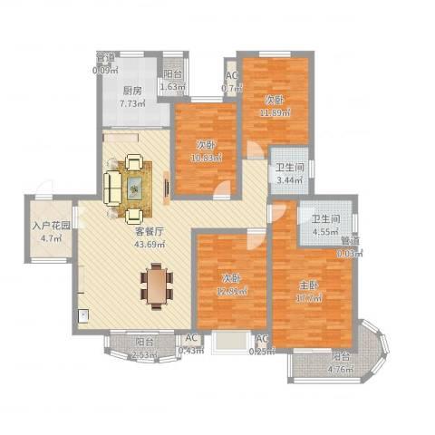 九派香邻4室2厅2卫1厨160.00㎡户型图
