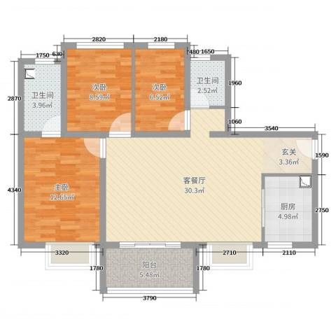 万科珠江东岸3室2厅2卫1厨96.00㎡户型图