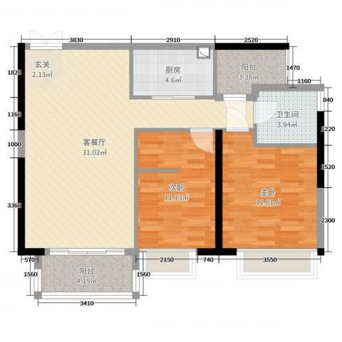 元邦明月水岸2室2厅1卫1厨95.00㎡户型图