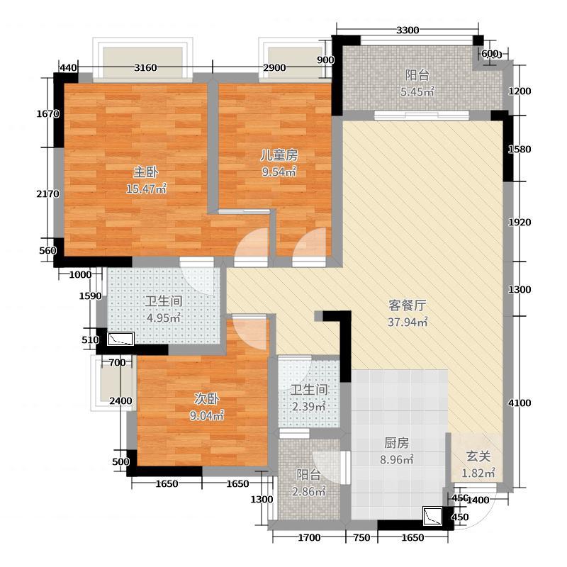 绿地凤垭城110.00㎡高层F户型3室3厅2卫1厨