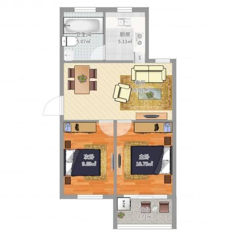 港城花园2室1厅1卫1厨64.00㎡户型图