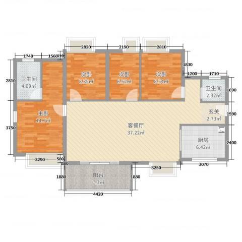 万科珠江东岸4室2厅2卫1厨125.00㎡户型图