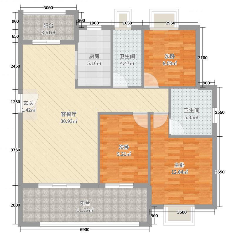 丽景江山115.00㎡1#2#3#4#6#新D1户型3室3厅2卫1厨