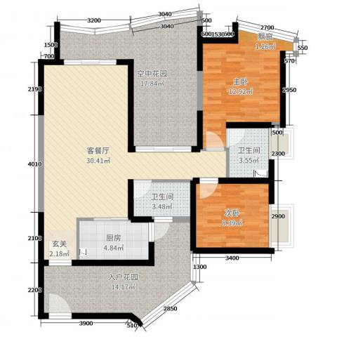 新世纪君汇半岛2室2厅2卫1厨117.00㎡户型图