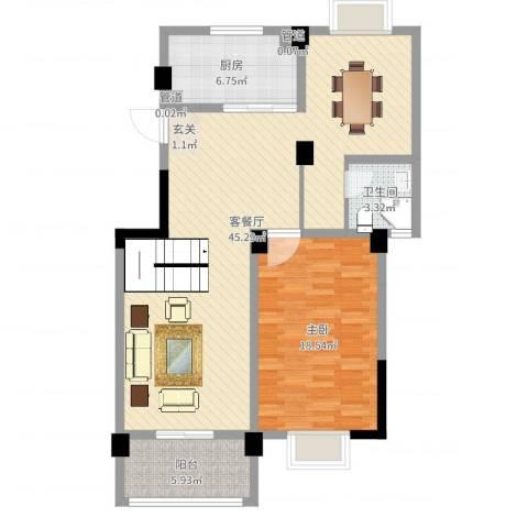 中央华府1室2厅1卫1厨100.00㎡户型图