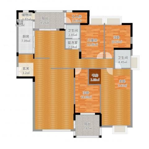 亚洲广场3室2厅2卫1厨215.00㎡户型图