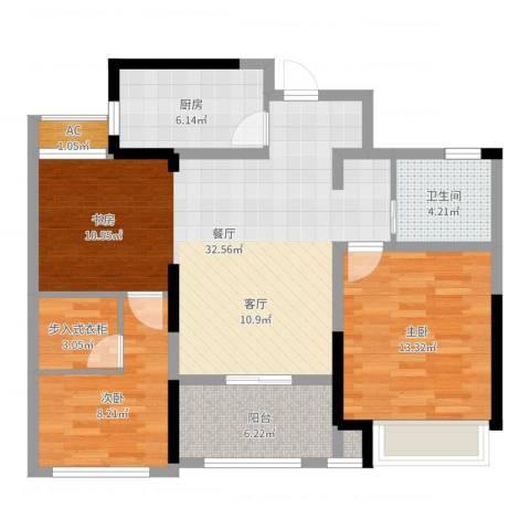 新城香溢俊园2室1厅1卫1厨93.00㎡户型图